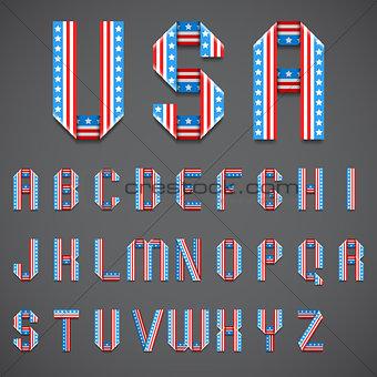 American Flag Folded Font