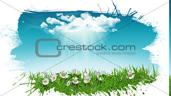 3D daisies in grass with cloud with grunge splat effect