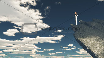 3D female figure on a mountain