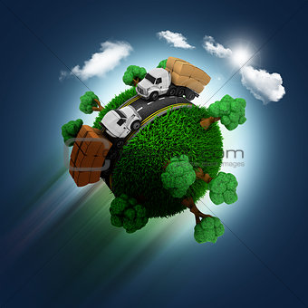 3D grassy globe with trucks on a blue sky background