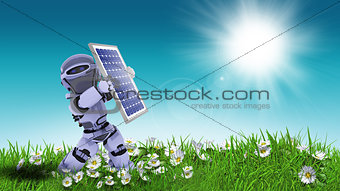 3D robot holding solar panel in daisy landscape