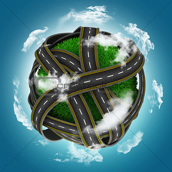 3D grassy globe with roads against a blue cloudy sky