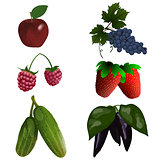 Set of color fruit and vegetables