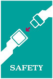 Safety seat belt caution poster design with typography