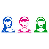 Support or call center woman icons