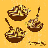 Spaghetti or noodle retro icons