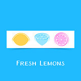 Banner with three abstract lemons