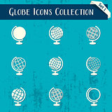 Globe icons retro collection