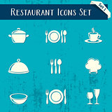 Restaurant icons retro collection