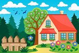 Garden and house theme background 3
