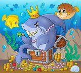 Shark with treasure theme image 2