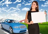Businesswoman with car