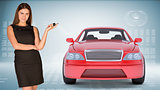 Businesslady holding car key