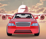Image of red car with jet