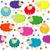 Seamless background with cute sheeps