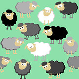 Sheep seamless pattern on a green background