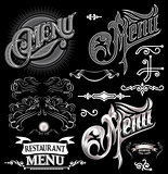 calligraphic elements for design label menu