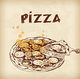 Vintage hand drawn pizza