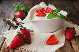 yogurt and ripe strawberries
