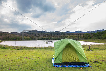Camping with lake and sky