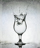 Ice Cubes Splashing Into Glass Of Water, Still Life, Grunge Back