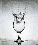 Ice Cubes Splashing Into Glass Of Water, Still Life, Grunge Back