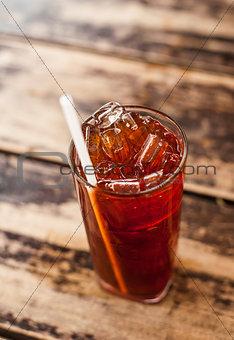 Fresh cold tea with lime