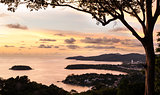 Phuket view point with color of the sunset,  Thailand