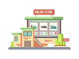 Online Shop Building Flat Design