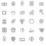 Money line icons with reflect on white