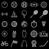 Sport  line icons on black background