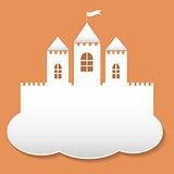 Big castle in paper cut style