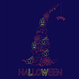 Halloween design from stroke elements