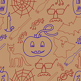Halloween seamless pattern on beige background