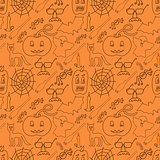Halloween seamless pattern on orange background