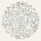 Finance Business Money Line Icons Set Circular Shaped