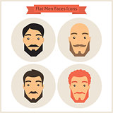 Flat Circle Men with Beard Faces Icons Set