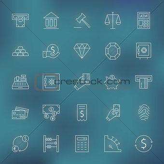 Money Finance Banking Line Icons Set