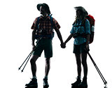 couple trekker trekking nature silhouette