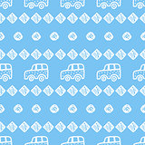 Seamless pattern with hand drawn cars, squares and circles.