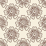 Indian style seamless pattern with ethnic flowers.
