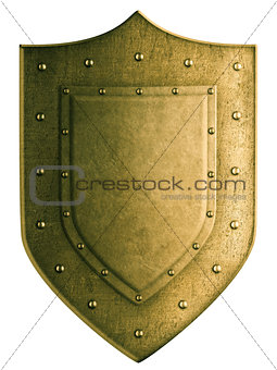 Gold coat of arms shield isolated with clipping path included