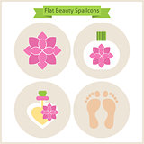 Flat Flower Beauty and Spa Icons Set