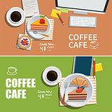 coffee cafe banner flat design element