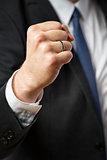 Fist of businessman