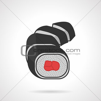 Flat color sushi rolls vector icon
