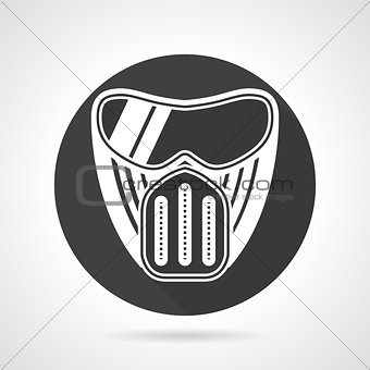 Paintball mask black round vector icon
