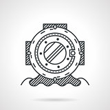 Diving helmet black line vector icon