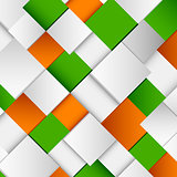 Abstract white and green orange square background