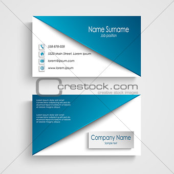 Business card with blue white background template